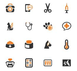 Veterinary clinic icons set