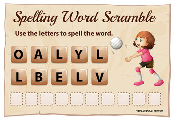 Spelling word scramble template with word volleyball