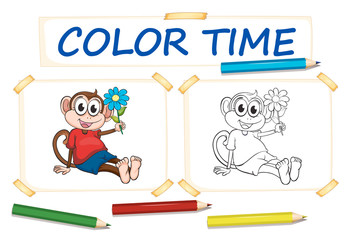 Coloring template with monkey and flower