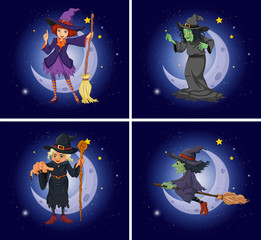 Different witch characters on magic broom