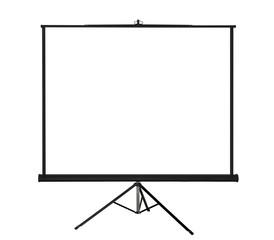Blank projection screen on tripod.