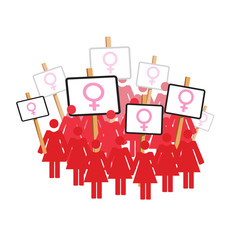 Vector image of women protesting with placards bearing female symbol