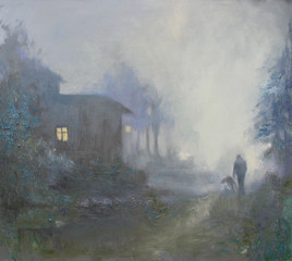 Country side in foggy weather, a man walks with a big dog. Original oil painting on canvas