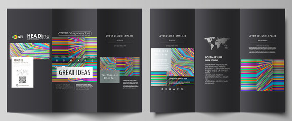 Tri-fold brochure business templates on both sides. Easy editable abstract vector layout in flat design. Bright color lines, colorful style with geometric shapes, beautiful minimalist background.