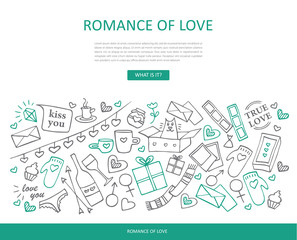 Romance of love. Website template.  Traditional romantic symbols: heart shapes, gift boxes, love letters. Hand-drawn line vector illustration.