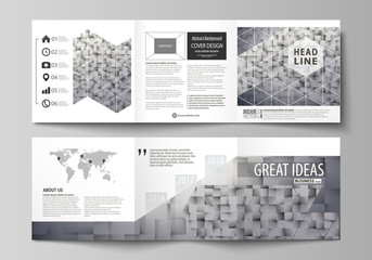 Set of business templates for tri fold square design brochures. Leaflet cover, abstract layout, easy editable vector. Pattern made from squares, gray background in geometrical style. Simple texture.