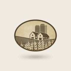 oval label with the landscape. farm in field