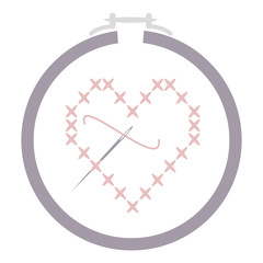 Cross Stitch Heart with Needle in a Hoop