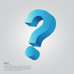 Lorem ipsum text with big blue question mark