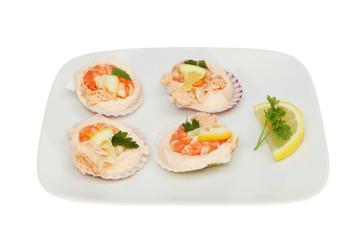 Mini seafood bites on a plate