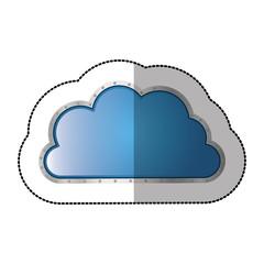 sticker metallic cloud tridimensional in cumulus shape vector illustration