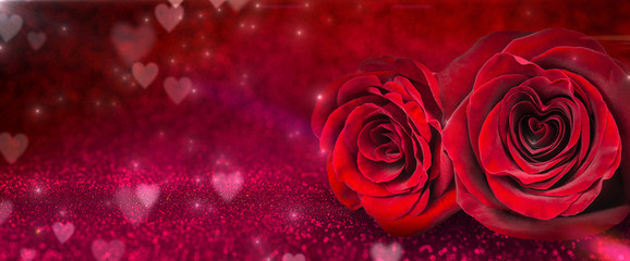 Roses And Hearts In Romantic Background