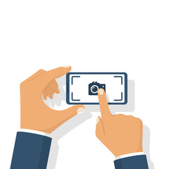 Making photo smartphone hold in hand. Touching finger screen mobile phone. Photo icon. Vector illustration flat design. Isolated on white background.
