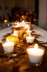 Beautiful stylish autumn table decoration