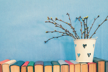 Cherry branch with buds on books blue background