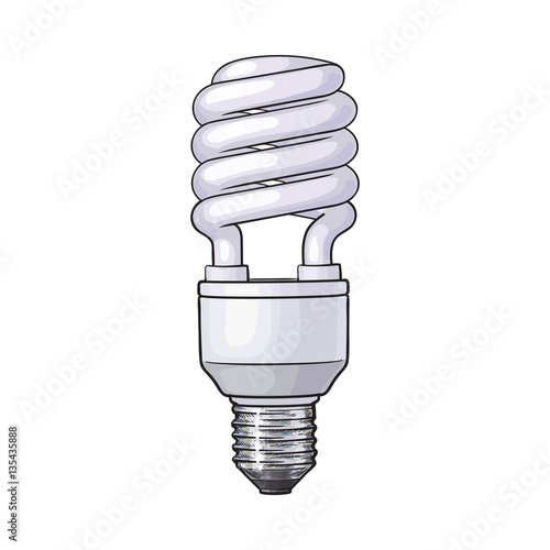 Quot fluorescent energy saving spiral light bulb side view