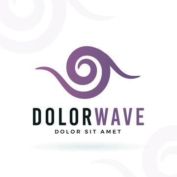 Abstract wave vector design element. Violet curve shape symbol logo concept. Wellness illustration on white background.