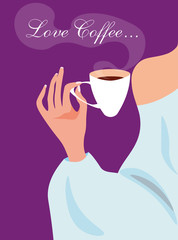 vector illustration with an elegant scene of the girl holding a cup of coffee on the violet background