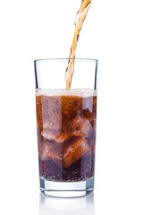Pouring cola into glass with ice cubes on white background
