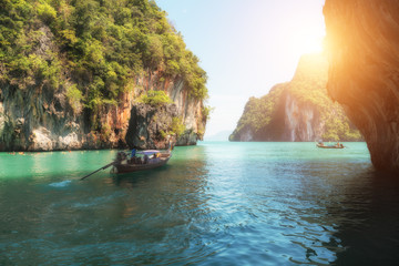 Beautiful landscape of mountain and crystal clear sea in Phuket, Thailand
