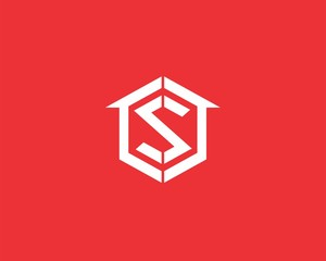 Letter s logo with home icon .