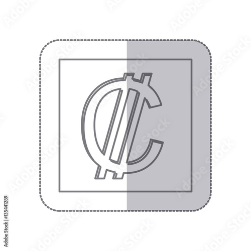 Middle Shadow Monochrome Square With Currency Symbol Of Colon Costa