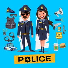 Police officers. Man and women with icon set. Character design -
