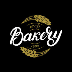 Bakery hand written lettering logo, label, badge, emblem.