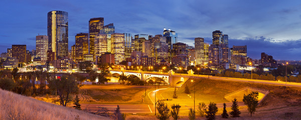 Skyline of Calgary, Alberta, Canada at night
