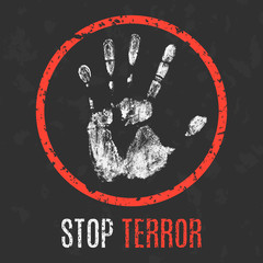 Vector illustration. Social problems. Stop terror.