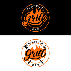 Set of Grill barbecue bar hand written lettering logo, label, badge or emblem with fire.