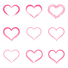Isolated on white hand drawn vector hearts set.