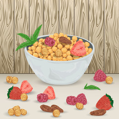 Cereal balls in bowl with raspberry, strawberry, hazelnut, brazil nut and mint leaves on wooden background. Healthy breakfast. Isolated elements. Hand drawn vector illustration