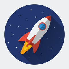 Space rocket flat icon with long shadow. Colored vector illustration.