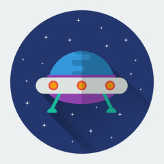 Flying saucer UFO flat icon with long shadow.