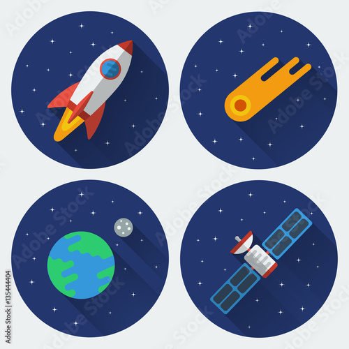 Space icons with long shadow  Rocket, comet, satellite, the