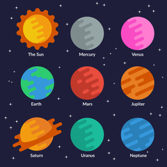 Solar system planets and the sun. Vector set in flat style.