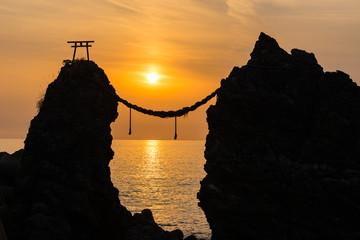 Meoto Iwa (Married Couple Rocks) at dusk (夫婦岩夕景) in Nagasaki, Japan.