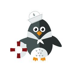 Penguin sailor vector animal character illustration.
