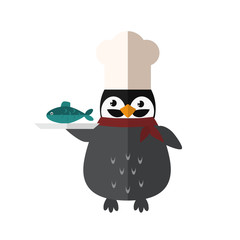 Penguin chef vector animal character illustration.