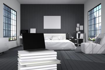 3D Rendering : illustration of close up of laptops in modern interior bedroom. close-up. Mock up. light from outside. frame mock up. black bed room. white furniture. white book stacked