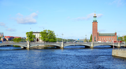 Wall Mural - Bridge and city hall in Stockholm