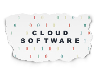 Cloud networking concept: Cloud Software on Torn Paper background