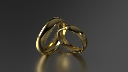 The beauty gold wedding rings on black background. 3d rendering