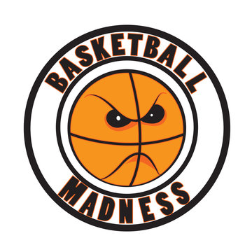 Basketball madness vector. March tournament logo icon. Angry ball cartoon.