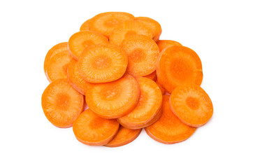 Cut round slices of raw carrot isolated on white