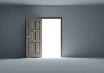 Open door with bright light