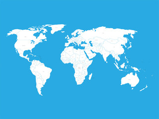 Fototapete - Political vector World Map with state name labels. White land with black text on blue background. Hand drawn simplified illustration.
