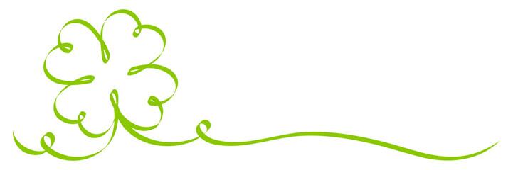 Single Calligraphy Green Cloverleaf Ribbon