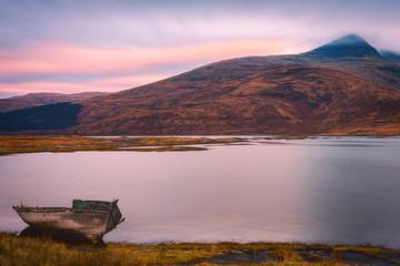 Lone boat on the Isle of Mull, Inner Hebrides, Scotland, United Kingdom, Europe
